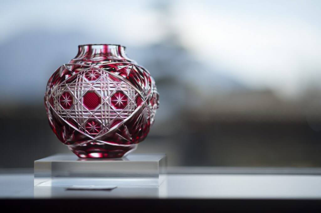 red crystal glass Satsuma Kiriko