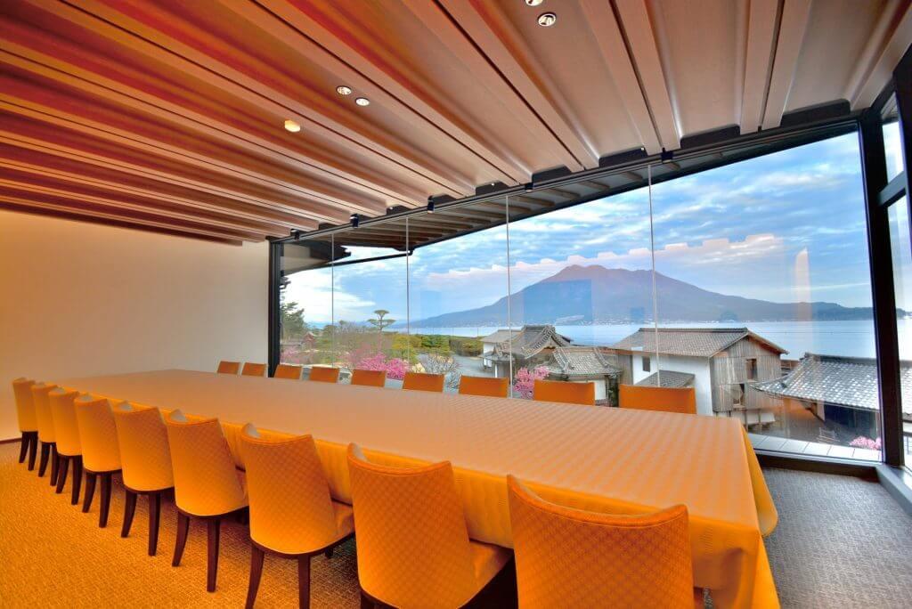 private dining room view of Sakurajima