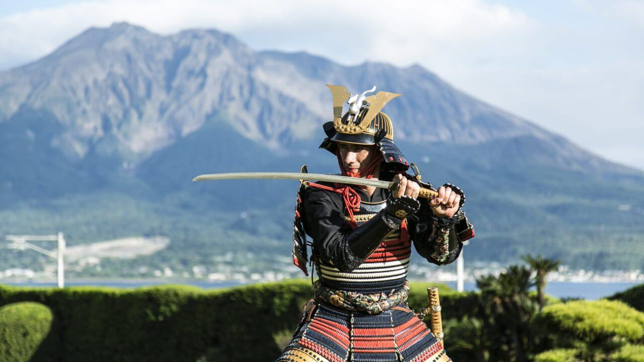 samurai warrior active volcano