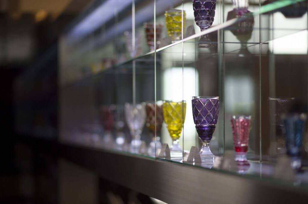 Satsuma Kiriko crystal glass display
