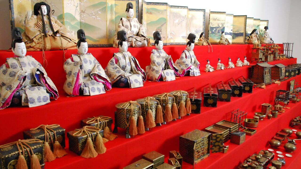 hina dolls on display with accessories