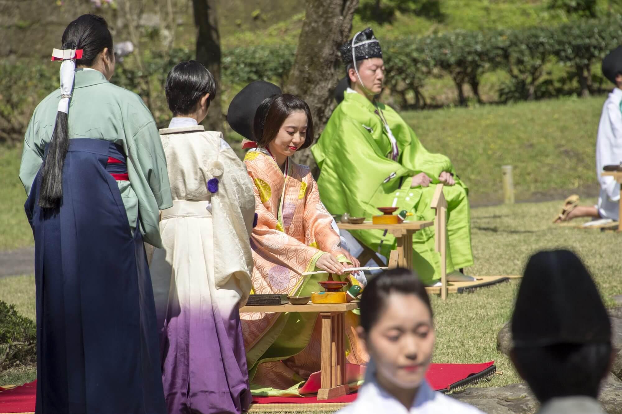 Kyokusui-no-en poetry reading festival kimono hitatare
