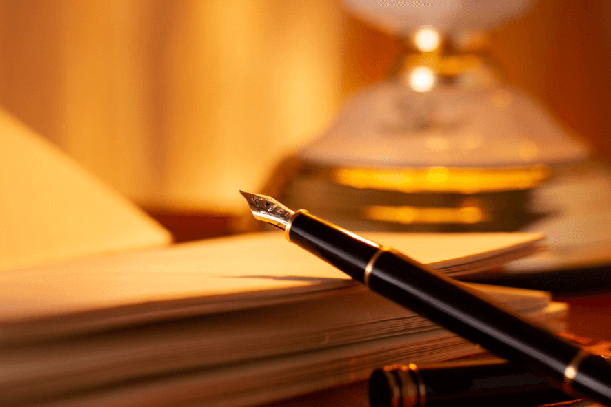 shimazu or shimadzu pen on book